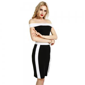 Summer Women Bandage Bodycon Off Shoulder Evening Party Cocktail Club Midi Dress -