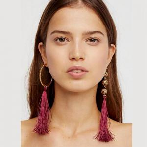Bohemian Wind Asymmetric Geometric Elements Tassel Multicolor Long Earrings -