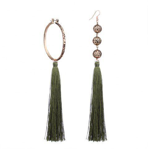 New Bohemian Wind Asymmetric Geometric Elements Tassel Multicolor Long Earrings