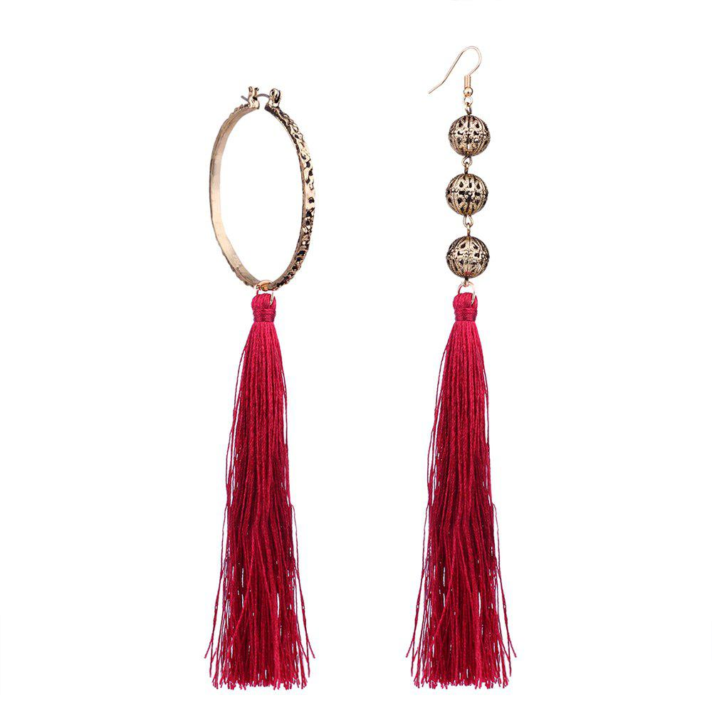 Cheap Bohemian Wind Asymmetric Geometric Elements Tassel Multicolor Long Earrings