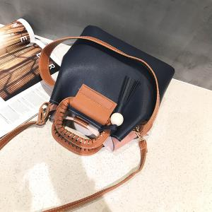 Contrast Color Tassels Shoulder Messenger Bag Simple Handbag -