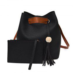 Two Pieces of Trendy Simple Tassel Shoulder Messenger Bag -