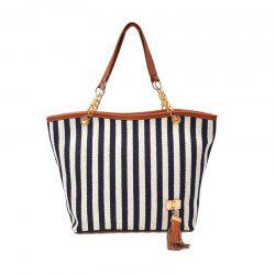 Large Capacity Canvas Stripes Tassel Pendant Handbag -