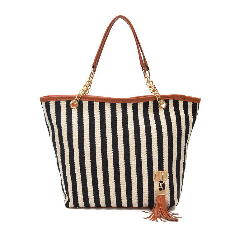 Chic Large Capacity Canvas Stripes Tassel Pendant Handbag