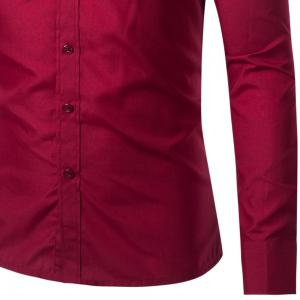 Mens New Fashion Neckline Embroidered Pure Color Long Sleeve Loose Shirts -