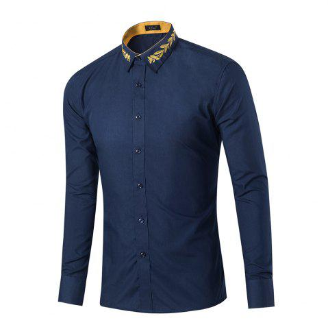 Affordable Mens New Fashion Neckline Embroidered Pure Color Long Sleeve Loose Shirts