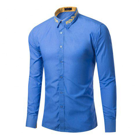 Hot Mens New Fashion Neckline Embroidered Pure Color Long Sleeve Loose Shirts