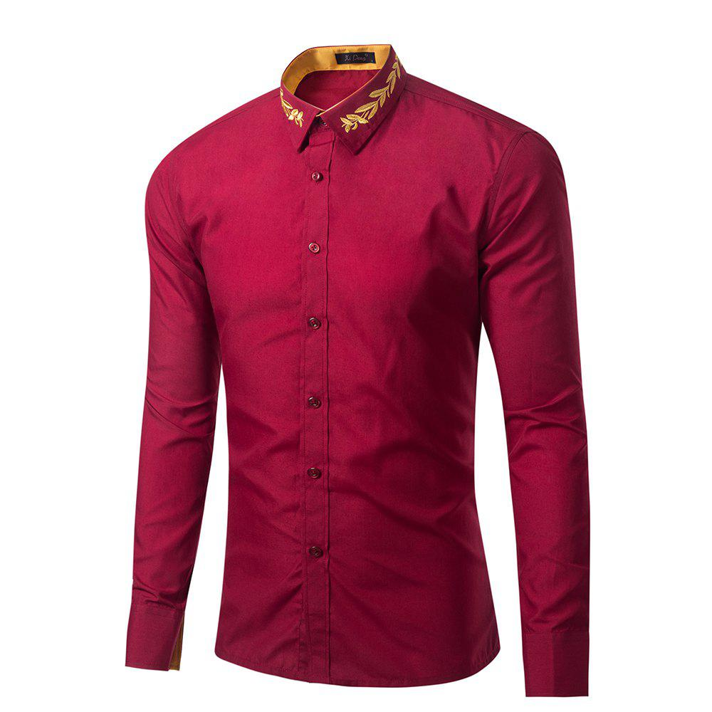 Chic Mens New Fashion Neckline Embroidered Pure Color Long Sleeve Loose Shirts
