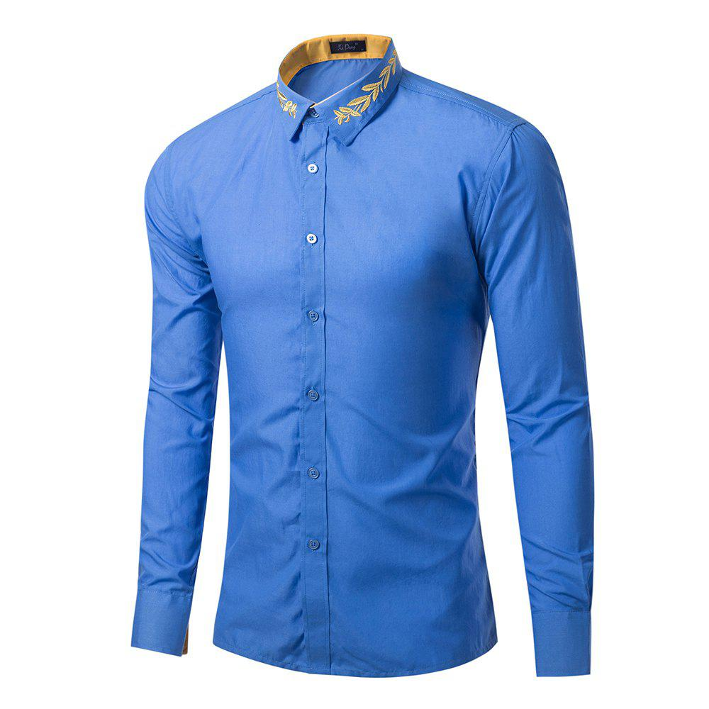 Hot Mens New Fashion Neckline Embroidered Solid Color Long Sleeve Loose Shirts