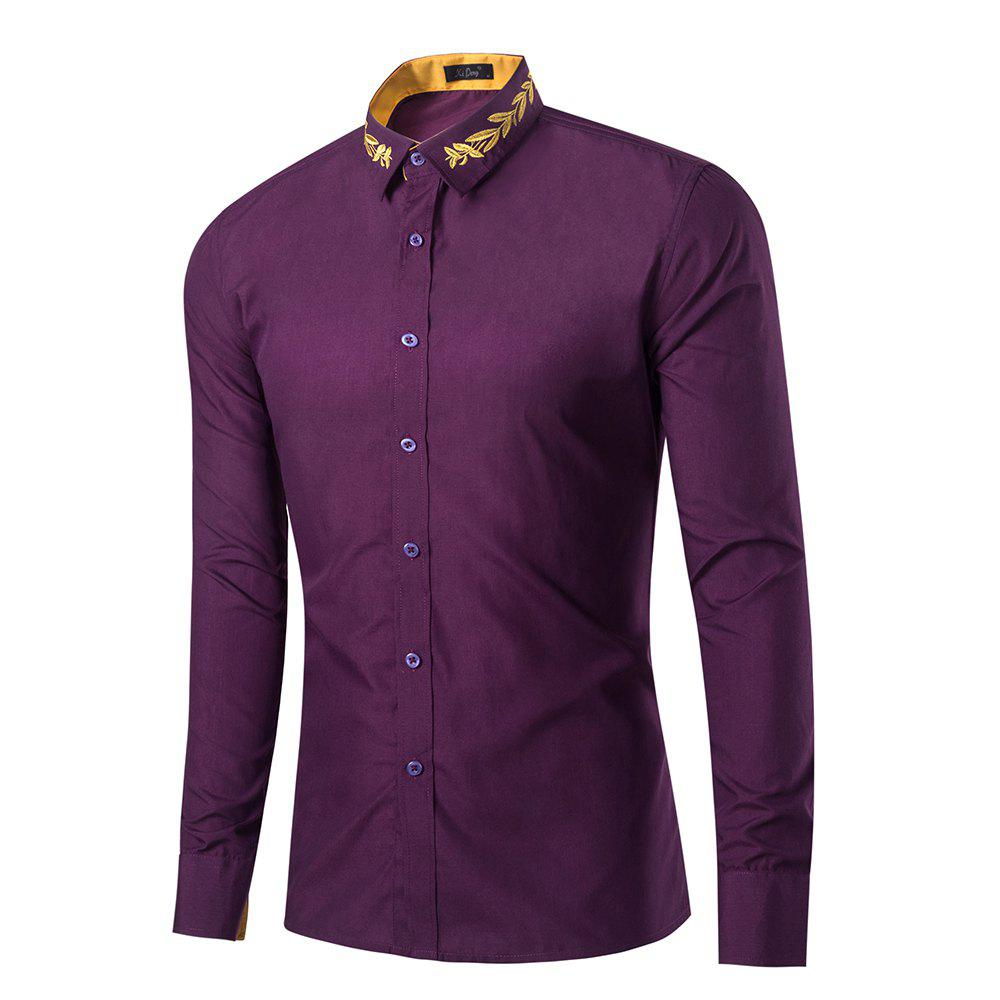 Shop Mens New Fashion Neckline Embroidered Pure Color Long Sleeve Loose Shirts