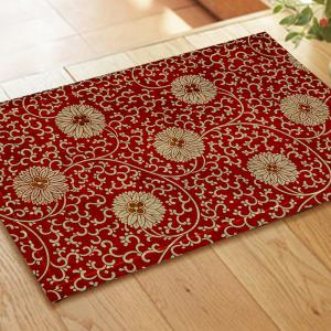 Chinese Antique Embroidered Flower Pattern Carpet Mat -