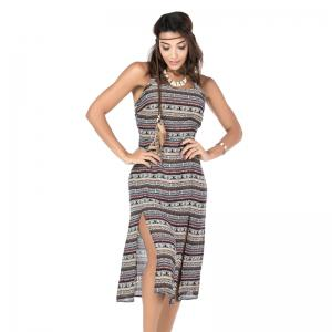National Wind Printed Back Cross Tie Dress -