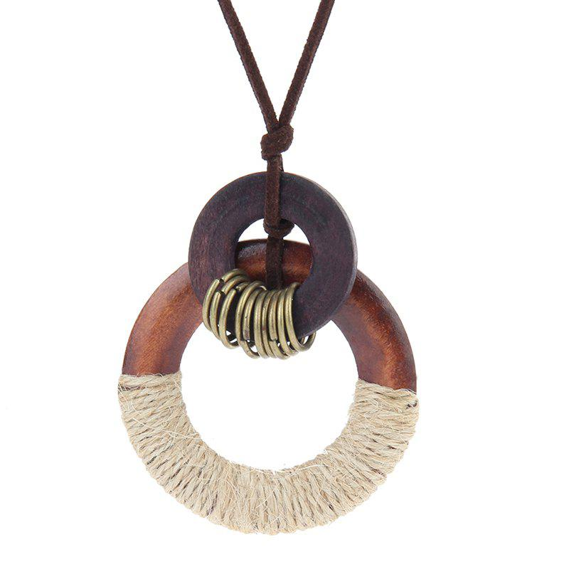 Shops Stylish Ornaments Simple Wooden Ring Pendant Long Necklace