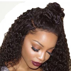 180 Density Long Kinky Curly Synthetic Lace Front Wig Natural Black Color with Baby Hair -