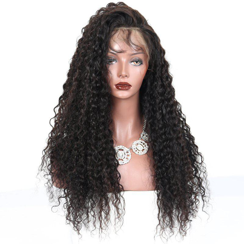 Buy 180 Density Long Kinky Curly Synthetic Lace Front Wig Natural Black Color with Baby Hair