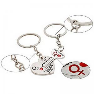 Couple I LOVE YOU Letter Keychain Heart Key Ring -