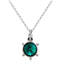 18K Gold Plated Alloy Emerald Green Jeweled Tortoise Necklace -