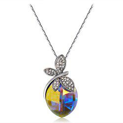 Crystal Decorated Dragonfly Pendant Necklace -