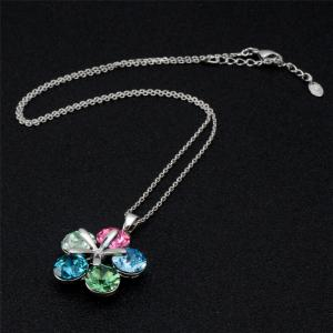 Colorful Crystal Petal Pendant Necklace Earring Set -