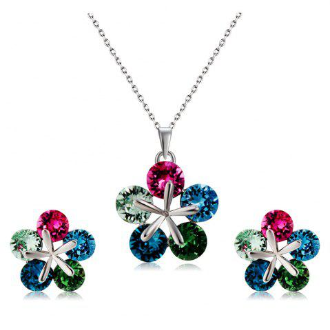 Unique Colorful Crystal Petal Pendant Necklace Earring Set