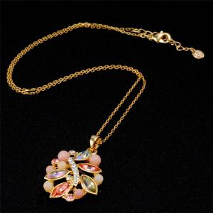 Unique Shape Crystal Gold-Plated Pendant Necklace -