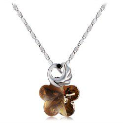 Swan Flower Crystal Pendant Necklace -