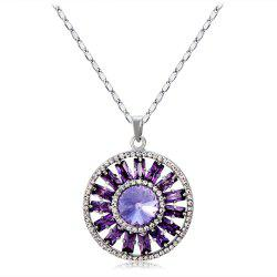 Purple Crystal Rhinestone Pendant Necklace -
