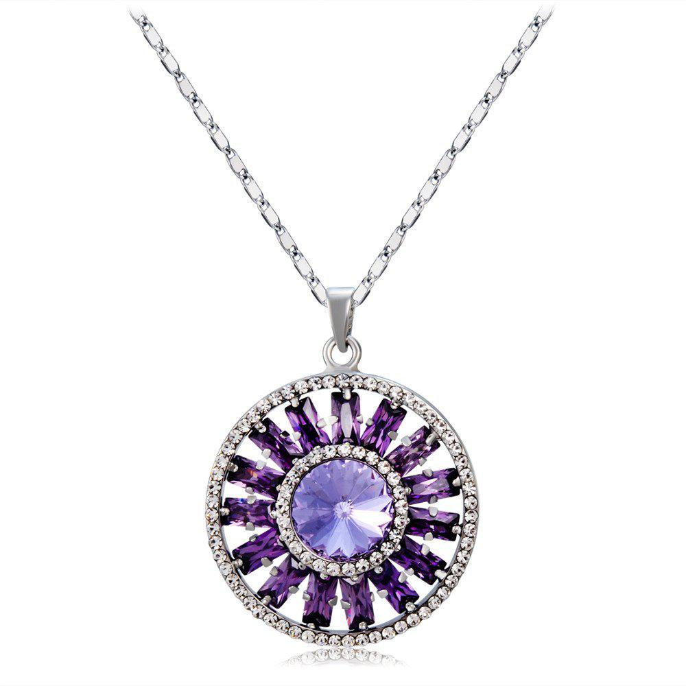 Discount Purple Crystal Rhinestone Pendant Necklace