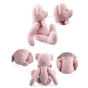 Pink Striped Cotton Fabric Cloth Doll Bear Plush Toy -