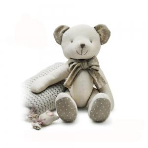 Baby Doll Beige Cotton Linen Plush Toy with Bear Style -