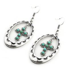 Trendy New Pattern Hollow Round Cross Pendants Turquoise Earrings -