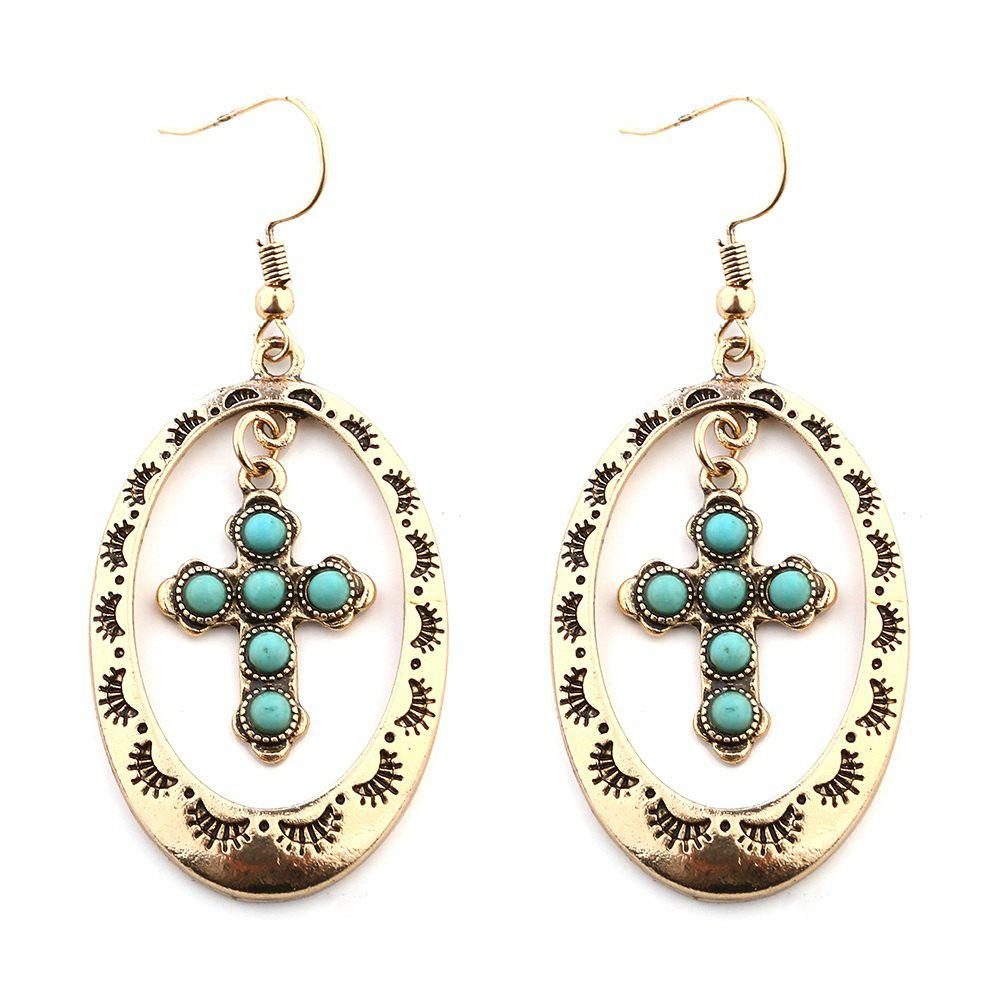 Chic Trendy New Pattern Hollow Round Cross Pendants Turquoise Earrings
