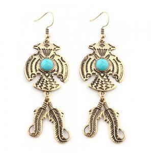 New Personality Turquoise Retro Feather Pendant Earrings Foreign Trade Hot -