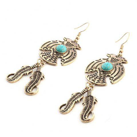 Shops New Personality Turquoise Retro Feather Pendant Earrings Foreign Trade Hot
