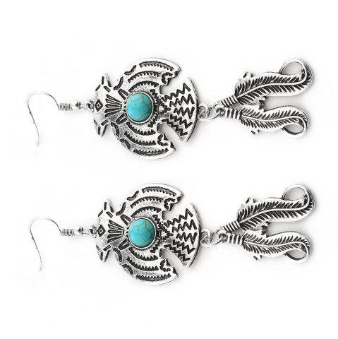 Sale New Personality Turquoise Retro Feather Pendant Earrings Foreign Trade Hot