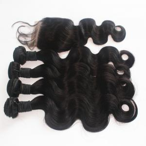 Body Wave 100 Percent Peruvian Human Virgin Hair Weave 300g with One Piece 4 inch x 4 inch Lace Closure -
