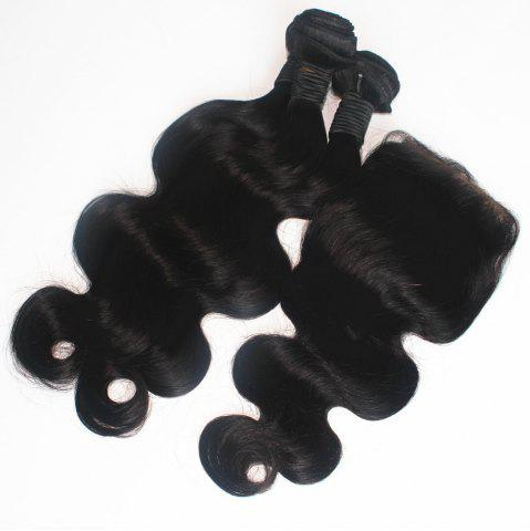 Fashion Body Wave Peruvian Human Virgin Hair Weave 400g with One Piece 4 inch x 4 inch Lace Closure