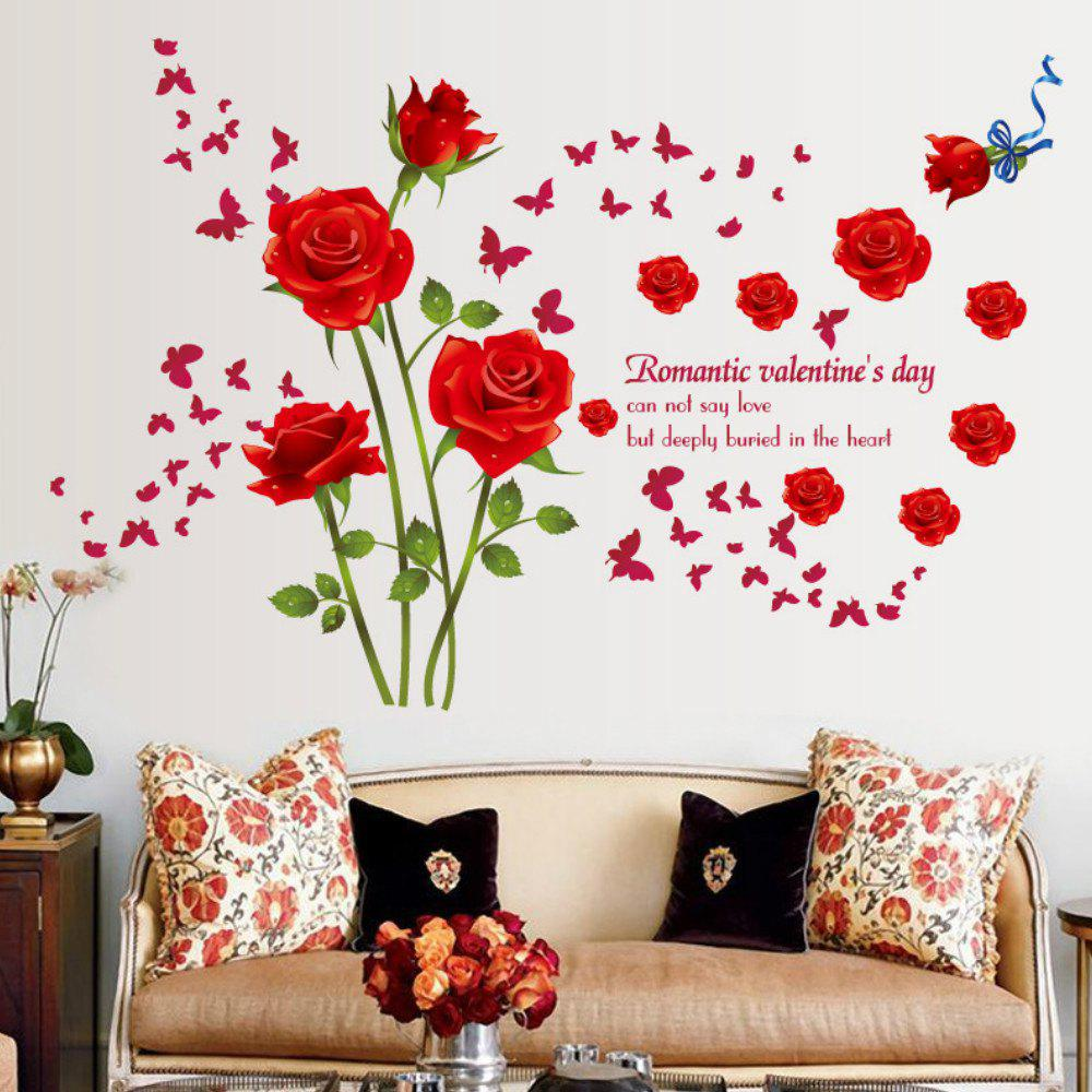 563426dcb Sale Roses Wall Stickers Living Room Bedroom Sofa Background Home Decoration