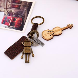 Retro Robot Leather Moven Fabric Keychain Rings Perfect Gifts Souvenirs -