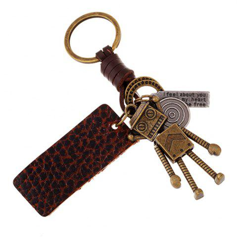 Online Retro Robot Leather Moven Fabric Keychain Rings Perfect Gifts Souvenirs