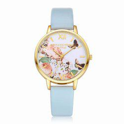 Lvpai P097-G Women Butterfly Dial Leather Band Wrist Watch -