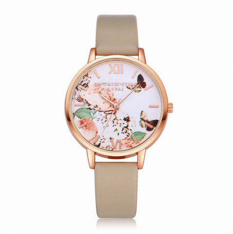 Outfits Lvpai P097-R Women Butterfly Dial Leather Band Wrist Watch