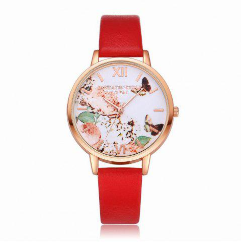 Store Lvpai P097-R Women Butterfly Dial Leather Band Wrist Watch