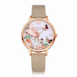 Lvpai P097-R Women Butterfly Dial Leather Band Wrist Watch -