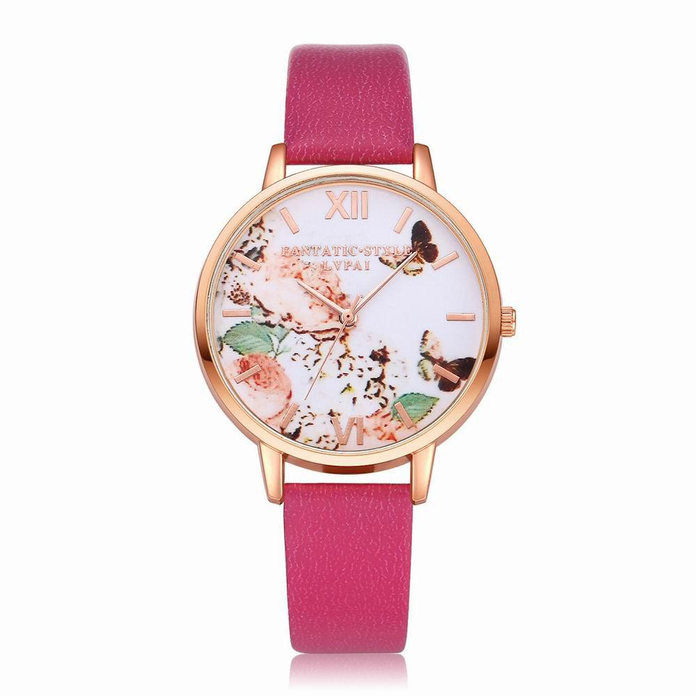 Shop Lvpai P097-R Women Butterfly Dial Leather Band Wrist Watch