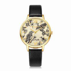 Lvpai P098 Women Leather Band Birds Dial Quartz Watches -