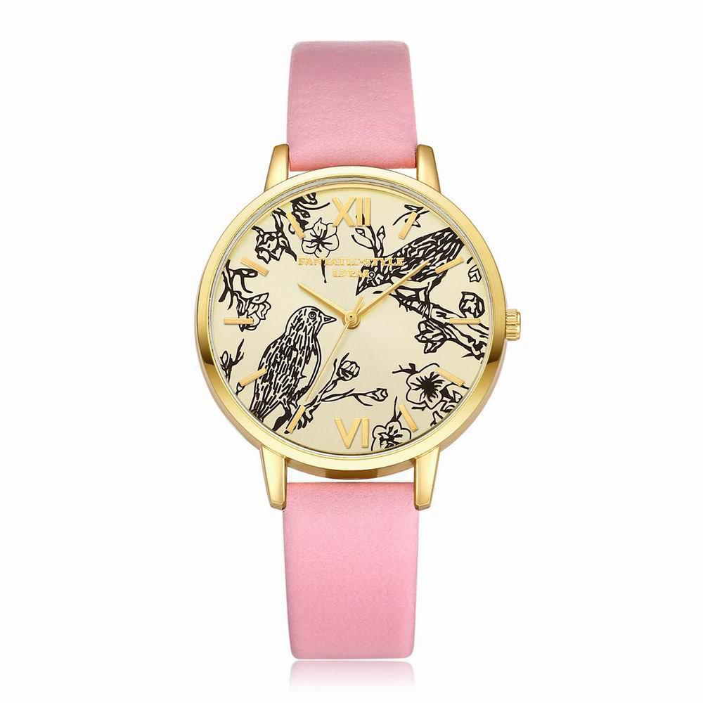 Latest Lvpai P098 Women Leather Band Birds Dial Quartz Watches