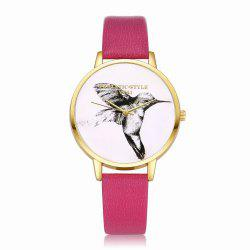 Lvpai P099-G Women Leather Strap Bird Dial Wrist Watch -