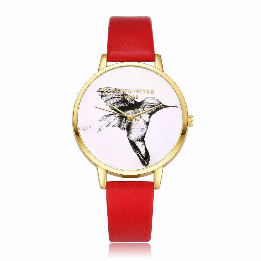 Shops Lvpai P099-G Women Leather Strap Bird Dial Wrist Watch