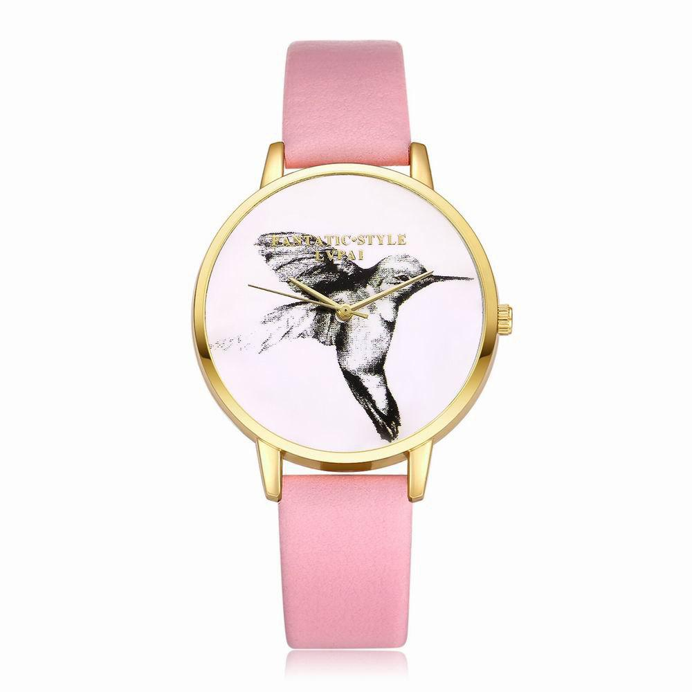 Store Lvpai P099-G Women Leather Strap Bird Dial Wrist Watch